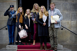 KIng Willem-Alexander, Queen Maxima and their daughters Princesses Amalia, Ariane and Alexia arrive for Princess Beatrix 80th birthday reception held at the Royal Palace on Dam Square in Amsterdam, Netherlands, February 3, 2018. Photo by Robin Utrecht/ABACAPRESS.COM