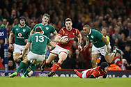 George North of Wales (c) looks to go past the tackle from Garry Ringrose of Ireland (13) and Simon Zebo of Ireland ®. RBS Six Nations 2017 international rugby, Wales v Ireland at the Principality Stadium in Cardiff , South Wales on Friday 10th March 2017.  pic by Andrew Orchard, Andrew Orchard sports photography
