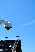 Security camera overlooking Sydney Harbour Bridge. Sydney, Australia
