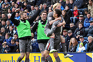 Rotherham United's Alex Revell celebrates with his teammates after scoring his teams 1st goal. Skybet football league one play off semi final, 1st leg match, Preston North End v Rotherham United at the Deepdale Stadium in Preston, England on Saturday 10th May 2014.pic by Chris Stading, Andrew Orchard sports Photography