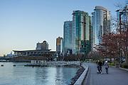 Coal Harbour waterfront buildings, Vancouver Harbour, Vancouver, British Columbia, Canada.