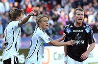 Fotball Tippeligaen 16.05.06, Rosenborg - Odd Grenland 1-1<br /> Frode Johnsen, Per Ciljan Skjelbred og Per Nilsson diskuterer straffesituasjonen<br /> Foto: Carl-Erik Eriksson, Digitalsport