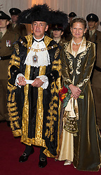 © Licensed to London News Pictures. 13/11/2017. London, UK.  Lord Mayor CHARLES BOWMAN and SAMANTHA BOWMAN attend the annual Lord Mayor's Banquet at Guildhall. Photo credit: Ray Tang/LNP