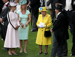 Sophie the Countess of Wessex (left) and Queen Elizabeth II before the Wolferton Stakes during day one of Royal Ascot at Ascot Racecourse.