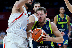 Pierre Oriola of Spain vs Goran Dragic of Slovenia during basketball match between National Teams of Slovenia and Spain at Day 15 in Semifinal of the FIBA EuroBasket 2017 at Sinan Erdem Dome in Istanbul, Turkey on September 14, 2017. Photo by Vid Ponikvar / Sportida