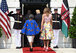 U.S. President Donald Trump and First Lady Melania Trump welcome Kenya's President Uhuru Kenyatta and Mrs. Margaret Kenyatta to the White House August 27, 2018 in Washington, DC. . Photo by Olivier Douliery/ Abaca Press
