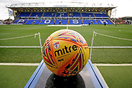 A general view of the stadium with the match ball in the foreground before the EFL Sky Bet League 1 match between Peterborough United and Oxford United at London Road, Peterborough, England on 8 December 2018.
