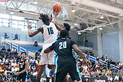 THOUSAND OAKS, CA Sunday, August 12, 2018 - Nike Basketball Academy. CJ Walker 2019 #16 of Orlando Christian Prep contests the shot of Joshua Christopher 2020 #16 of Mayfair HS. <br /> NOTE TO USER: Mandatory Copyright Notice: Photo by John Lopez / Nike