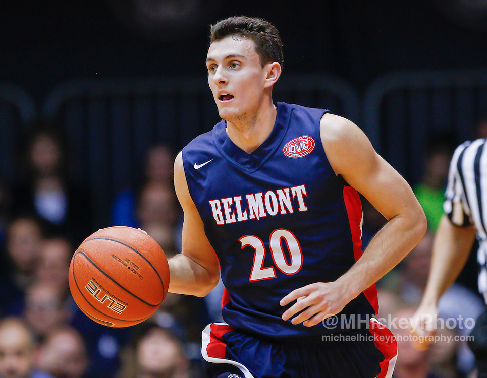 INDIANAPOLIS, IN - DECEMBER 28: Taylor Barnette #20 of the Belmont Bruins brings the ball up court during the game against the Butler Bulldogs at Hinkle Fieldhouse on December 28, 2014 in Indianapolis, Indiana. (Photo by Michael Hickey/Getty Images) *** Local Caption *** Taylor Barnette
