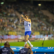 BRUSSELS, BELGIUM:  September 3:   Armand Duplantis of Sweden reacts after his third failed attempt at a world record height of 6.19m during the pole vault competition at the Wanda Diamond League 2021 Memorial Van Damme Athletics competition at King Baudouin Stadium on September 3, 2021 in  Brussels, Belgium. (Photo by Tim Clayton/Corbis via Getty Images)