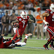 Louisville Cardinals wide receiver Damian Copeland (7) is seen during the NCAA Football Russell Athletic Bowl football game between the Louisville Cardinals and the Miami Hurricanes, at the Florida Citrus Bowl on Saturday, December 28, 2013 in Orlando, Florida. (AP Photo/Alex Menendez)