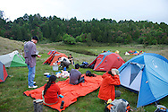 It was crowded down by the lake, so we found our own spot to camp..Jialuo Lake, May, 2013