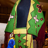 This shawl and bag woven by Navajo weaver, Tahnibaa Naataanii, won best in show and best in class for textiles Sunday at the 97th Gallup Inter-Tribal Indian Ceremonial Art Show at Red Rock State Park.