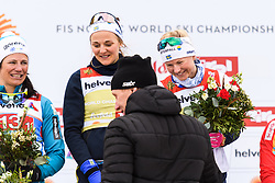 February 24, 2019 - Seefeld In Tirol, AUSTRIA - 190224 Gunde Svan, distributor of prizes, Stina Nilsson and Maja Dahlqvist of Sweden at the podium after in women's team sprint final during the FIS Nordic World Ski Championships on February 24, 2019 in Seefeld in Tirol..Photo: Joel Marklund / BILDBYRN / kod JM / 87888 (Credit Image: © Joel Marklund/Bildbyran via ZUMA Press)