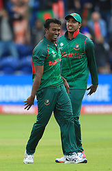Bangladesh's Rubel Hossain celebrates after taking the wicket of New Zealand's Martin Guptill during the ICC Champions Trophy, Group A match at Sophia Gardens, Cardiff.