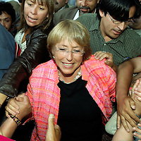 Osorno ,Chile  05 January 2006<br /> Chile's presidential candidate Michelle Bachelet of the Socialist Party and pro-government coalition salutes supporters during a political meeting.<br /> Photo: Ezequiel Scagnetti