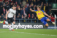 Southampton defender Jannik Vestergaard launches in to the air to stop the shot at goal from Derby County forward Jack Marriott  during the The FA Cup 3rd round match between Derby County and Southampton at the Pride Park, Derby, England on 5 January 2019.