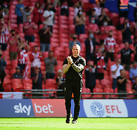 Lincoln City manager Michael Appleton applauds the fans at the final whistle<br /> <br /> Photographer Chris Vaughan/CameraSport<br /> <br /> The EFL Sky Bet League One Play-Off Final - Blackpool v Lincoln City - Sunday 30th May 2021 - Wembley Stadium - London<br /> <br /> World Copyright © 2021 CameraSport. All rights reserved. 43 Linden Ave. Countesthorpe. Leicester. England. LE8 5PG - Tel: +44 (0) 116 277 4147 - admin@camerasport.com - www.camerasport.com