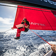 Leg 8 from Itajai to Newport, day 06 on board MAPFRE, Antonio Cuervas-Mons coming back on deck. 27 April, 2018.