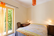 Architecture, small bedroom, double bed view