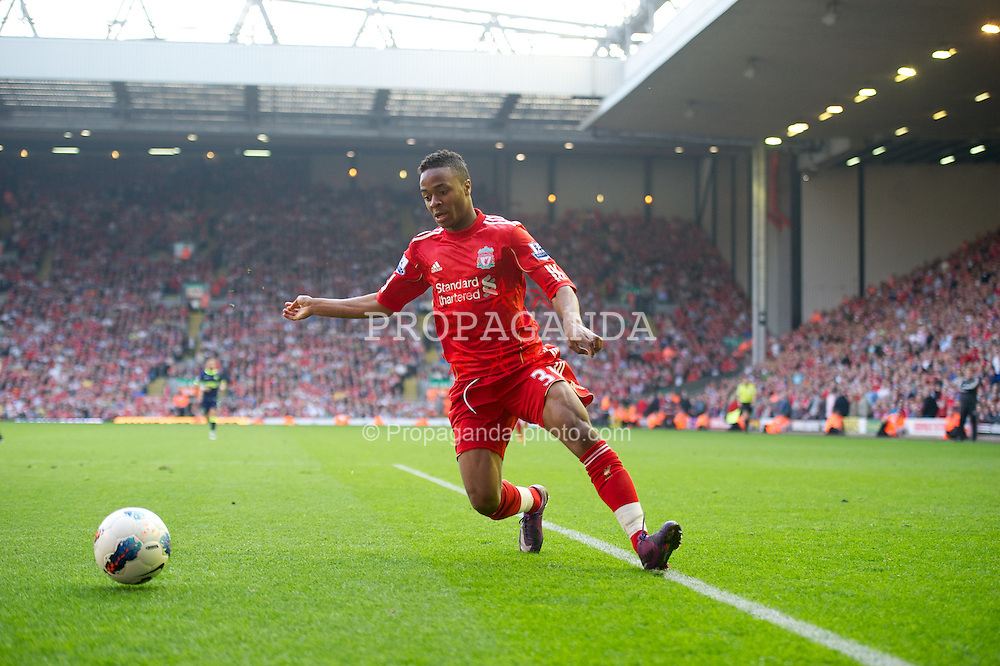 LIVERPOOL, ENGLAND - Saturday, March 24, 2012: Liverpool's Raheem Sterling in action on his first team debut during the Premiership match against Wigan Athletic at Anfield. (Pic by David Rawcliffe/Propaganda)