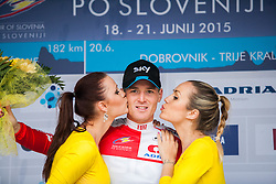 PUCCIO Salvatore (Italy) of Team Sky during flower ceremony after the Stage 2 of 22nd Tour of Slovenia 2015 - cycling race in Kocevje  on June 19, 2015 in Slovenia. Photo by Ziga Zupan / Sportida
