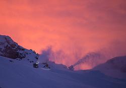 TEMENBILD - Mölltaler Gletscher ist der Name für ein Skigebiet in Österreich, Kärnten, in der Nähe von Flattach. Das Skigebiet ist im Besitz der Schultz Gruppe. Das Skigebiet dient in den Sommer und Herbstmonaten als T Trainingstätte für den Internationalen Ski Zirkus. Aufgenommen am 17.10.2012. Hier im Bild Schneekanonen bei Sonnenaufagng am Schareck (3.122m) // THEME IMAGE FEATURE - Moelltal Glacier is the name of a ski resort in Austria, Carinthia, near Flattach. The resort is owned by the Schultz group. The ski area is in the summer and autumn months as T training venue for the International Ski Circus. The image was taken on october, 17th, 2012. Picture shows  Snow cannons at sunrise on Schareck (3.122m). EXPA Pictures © 2012, PhotoCredit: EXPA/ J. Groder