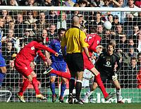 Peter Crouch Scores 1st goal past Edwin Van Der Sar Manchester United<br />Liverpool 2005/06<br />Liverpool V Manchester United 18/02/06<br />The F/A Cup 5th Round<br />Photo Robin Parker Fotosports International