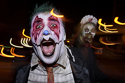 "October 26, 2016 - Long Beach, California, United States - Performers at the Queen Mary's annual Halloween haunt, ""Dark Harbor"". Long Beach, California. October 26, 2016. The immersive event includes six haunted mazes and hundreds of monsters. (Credit Image: © Ronen Tivony/NurPhoto via ZUMA Press)"