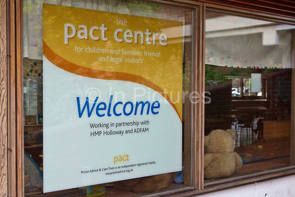 The sign outside the visitors centre run by PACT outside HMP Holloway, the main womens prison in London.