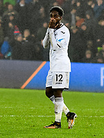 Football - 2017 / 2018 Premier League - Swansea City vs. Arsenal<br /> <br /> Nathan Dyer of Swansea City holds his head after missing a shot at goal , at The Liberty Stadium.<br /> <br /> COLORSPORT/WINSTON BYNORTH