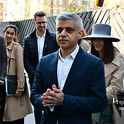 The Mayor of London, Sadiq Khan, launch a branded 'We are all Londoners' bus as it begins a four-day 'Advice Roadshow' around the capital. The bus will visit locations in areas with high numbers of European nationals, offering them guidance on how to apply for Settled to Status to remain in the UK following Brexit on 29 March 2019, London, UK.