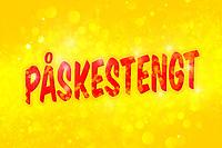 Fiks ferdig påske-design med rød tekst «Påskestengt» på gul bokeh bakgrunn. Perfekt til bruk på nettsteder, Facebook eller butikkdøra når man skal tilbringe solskinnsdager på påskefjellet.