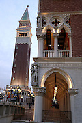 The Venetian casino and its replica of Venice's campanile (left) stand in Macau, China, on February 21, 2008. The Venetian Macao-Resort-Hotel is a 163,000 square foot casino featuring 405 slots and 277 table games. Macao has overtaken Las Vegas with a gambling revenue of 7 billion U.S. dollars in 2006 (Las Vegas' was 6.6 billion U.S. dollars), and is now the world's top casino hut. Photo by Lucas Schifres/Pictobank