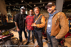 Stéphane Grand, Giuseppe Lazaro, Albert Alberty and Roland Groteclaes at the AMD World Championship of Custom Bike Building in the Intermot Customized hall during the Intermot International Motorcycle Fair. Cologne, Germany. Thursday October 4, 2018. Photography ©2018 Michael Lichter.