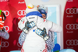 """Veronika Velez Zuzulova (SVK) during  Flower Ceremony after the FIS Alpine Ski World Cup 2016/17 Ladies Slalom race named """"Snow Queen Trophy 2017"""", on January 3, 2017 in Course Crveni Spust at Sljeme hill, Zagreb, Croatia. Photo by Ziga Zupan / Sportida"""