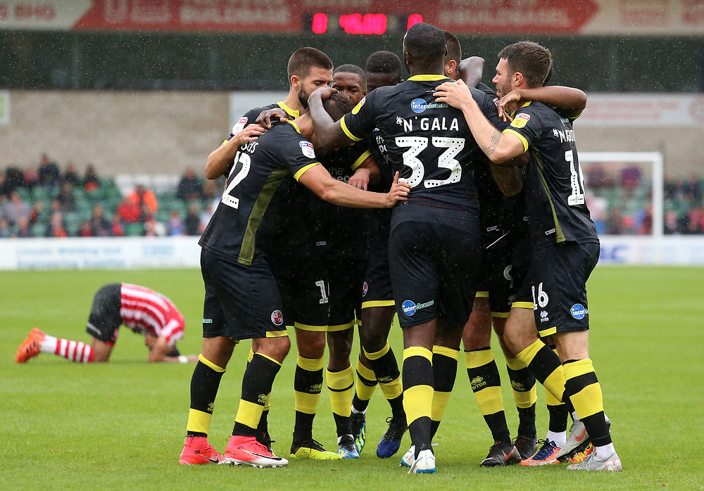 Crawley Town celebrate after Lincoln City's Michael Bostwick scores an own goal to give them the lead<br /> <br /> Photographer David Shipman/CameraSport<br /> <br /> The EFL Sky Bet League Two - Lincoln City v Crawley Town - Saturday September 8th 2018 - Sincil Bank - Lincoln<br /> <br /> World Copyright © 2018 CameraSport. All rights reserved. 43 Linden Ave. Countesthorpe. Leicester. England. LE8 5PG - Tel: +44 (0) 116 277 4147 - admin@camerasport.com - www.camerasport.com