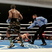 HOLLYWOOD, FL - APRIL 17:  Demetrius Andrade looks on as Liam Williams hits the canvas during the WBO Middleweight Championship fight at Seminole Hard Rock Hotel & Casino on April 17, 2021 in Hollywood, Florida. (Photo by Alex Menendez/Getty Images) *** Local Caption *** Demetrius Andrade; Liam Williams