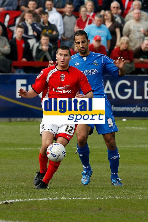 Photo: Paul Greenwood.<br />Accrington Stanley v Macclesfield Town. Coca Cola League 2. 28/04/2007.<br />Accrington's Phil Edwards (L) gets the better of Matty McNeil