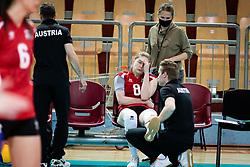 HOLZER Katharina of Austrian national team injured before volleyball match between Slovenia and Austria in CEV Volleyball European Silver League 2021, on 6 of June, 2021 in Dvorana Ljudski Vrt, Maribor, Slovenia. Photo by Blaž Weindorfer / Sportida