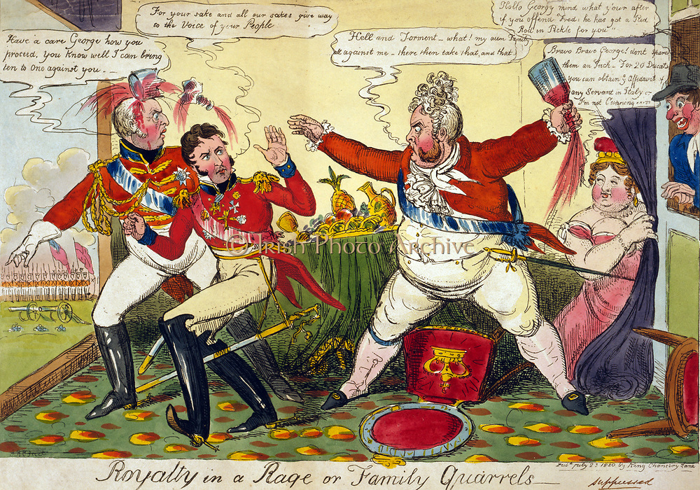 Royalty in a Rage or Family Quarrels' Robert Cruikshank, July 1820. George IV angry with his brothers Frederick and William, unwilling to support him in his divorce proceedings against Queen Caroline. Etching. Caricature British