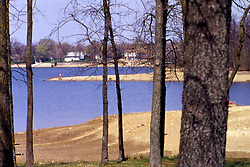 The effects of a drought in the late 80's and early 90's leave many items item high and dry above Lake Bloomington. Normally these items would be on or below the water level. Note: This image was originally produced on film and scanned to produce a digital file.  Some dust may be visible from that scan