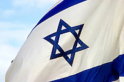 Israeli flag with the sky as a background