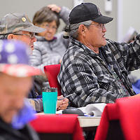 Guy Bitsilly asks a question during a meeting at the Navajo Nation Department of Transportation in Tse Bonito Thursday.