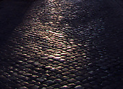 Cobbled street at night. Rome. Italy 2013