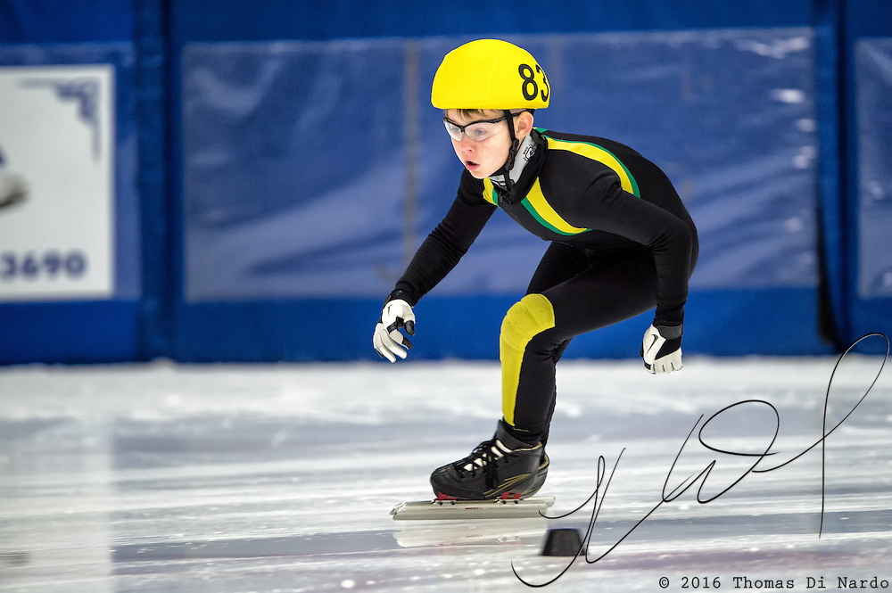 March 20, 2016 - Verona, WI - Tucker Vincent, skater number 83 competes in US Speedskating Short Track Age Group Nationals and AmCup Final held at the Verona Ice Arena.