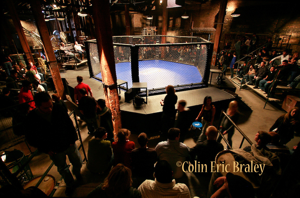 Bully Beat Down set images. Still photography of Mark Burnett Productions February 2009 filming of the Mixed Martial Arts reality fight show, Bully Beat Down, with MMA fighter and host, Jason Mayhem Miller. The show airs on MTV. Photos by Colin Braley