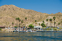 A waverunner fills up with fuel at The Willow Beach Marina, The Black Canyon, Nevada.