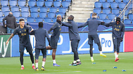 Manchester United Midfielder Paul Pogba in warm up with Manchester United Forward Romelu Lukaku and Manchester United Defender Marcus Rojo during the Manchester United Training session ahead of the Paris Saint-Germain vs Manchester United Champions League match at Parc des Princes, Paris, France on 5 March 2019.