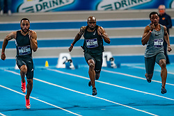 Christopher Garia (l), Churandy Martina in action on the 60 meters during limit matches to be held simultaneously with the Dutch Athletics Championships on 13 February 2021 in Apeldoorn